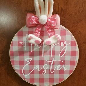 Homemade Happy Easter Embroidery Hoop Wreath